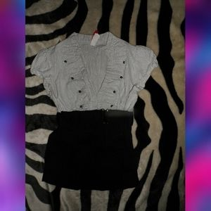Classy Dress Blouse White & Black with belt